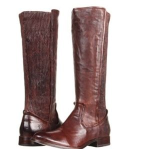 FRYE Melissa Scrunch Brown Leather Boots